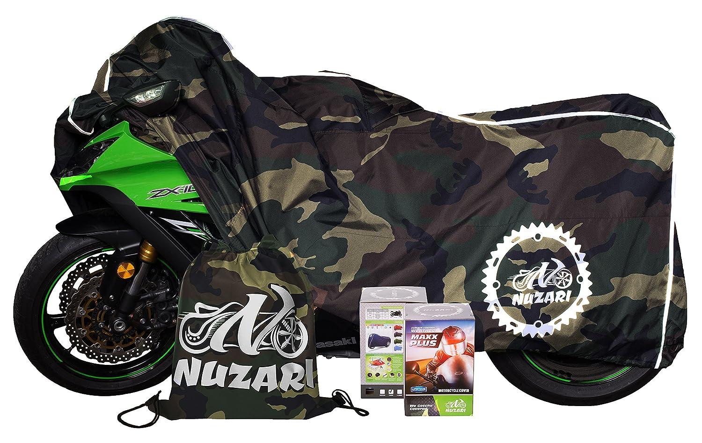 Nuzari Waterproof Polyester Outdoor Motorcycle Cover, Extra Large - Black Ondaupswing Inc. 71-1