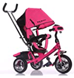Little Bambino 4 IN 1 Canopy Kids Tricycle For Toddler Age 1-6 Year Old Bike Trike n Ride Push Handle Buggy Pram   Available in Red / Blue / Orange / Pink Pink