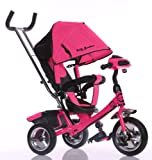 Little Bambino 4 IN 1 Canopy Kids Tricycle For Toddler Age 1-6 Year Old Bike Trike n Ride Push Handle Buggy Pram | Available in Red / Blue / Orange / Pink Pink