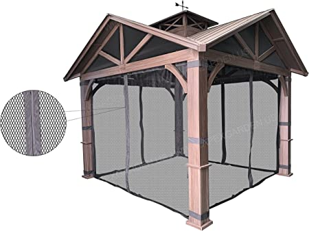 Gazebo Mosquito Netting with Slider Rail for allen + roth Model #GF-18S112B Wood Looking Hand Paint Metal Square Semi- Gazebo (Screen Net ONLY) (Screen Net with Metal Slider Rail, Black-1)