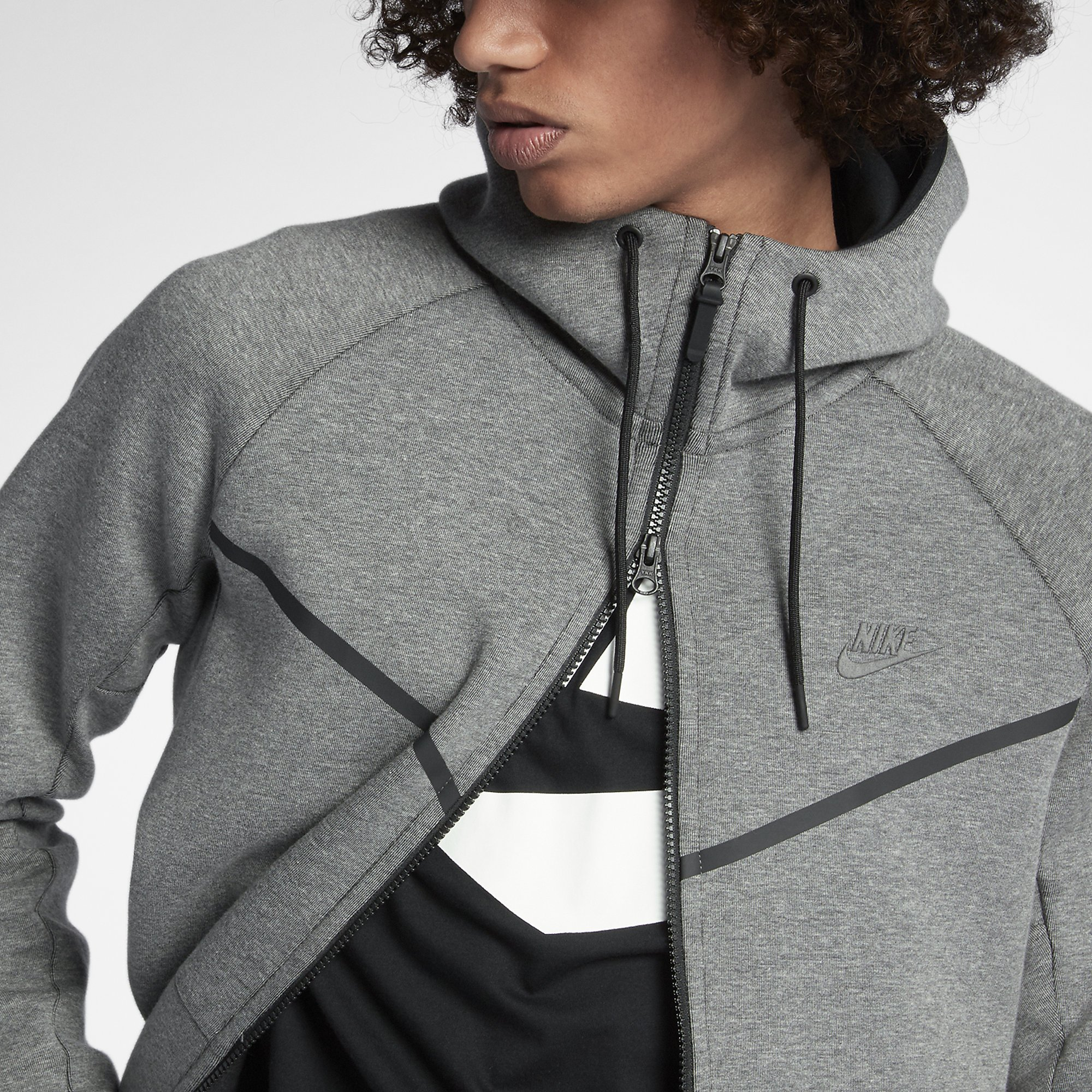 2b44ddb87dce Galleon - Nike Mens Sportswear Tech Fleece Windrunner Hooded Sweatshirt  Carbon Heather Black 805144-091 Size X-Large