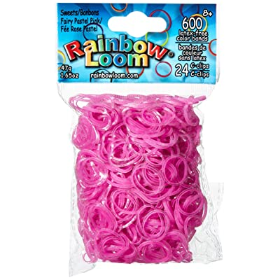 Rainbow Loom Sweets Fairy Pastel Pink Rubber Bands with 24 C-Clips (600 Count): Toys & Games