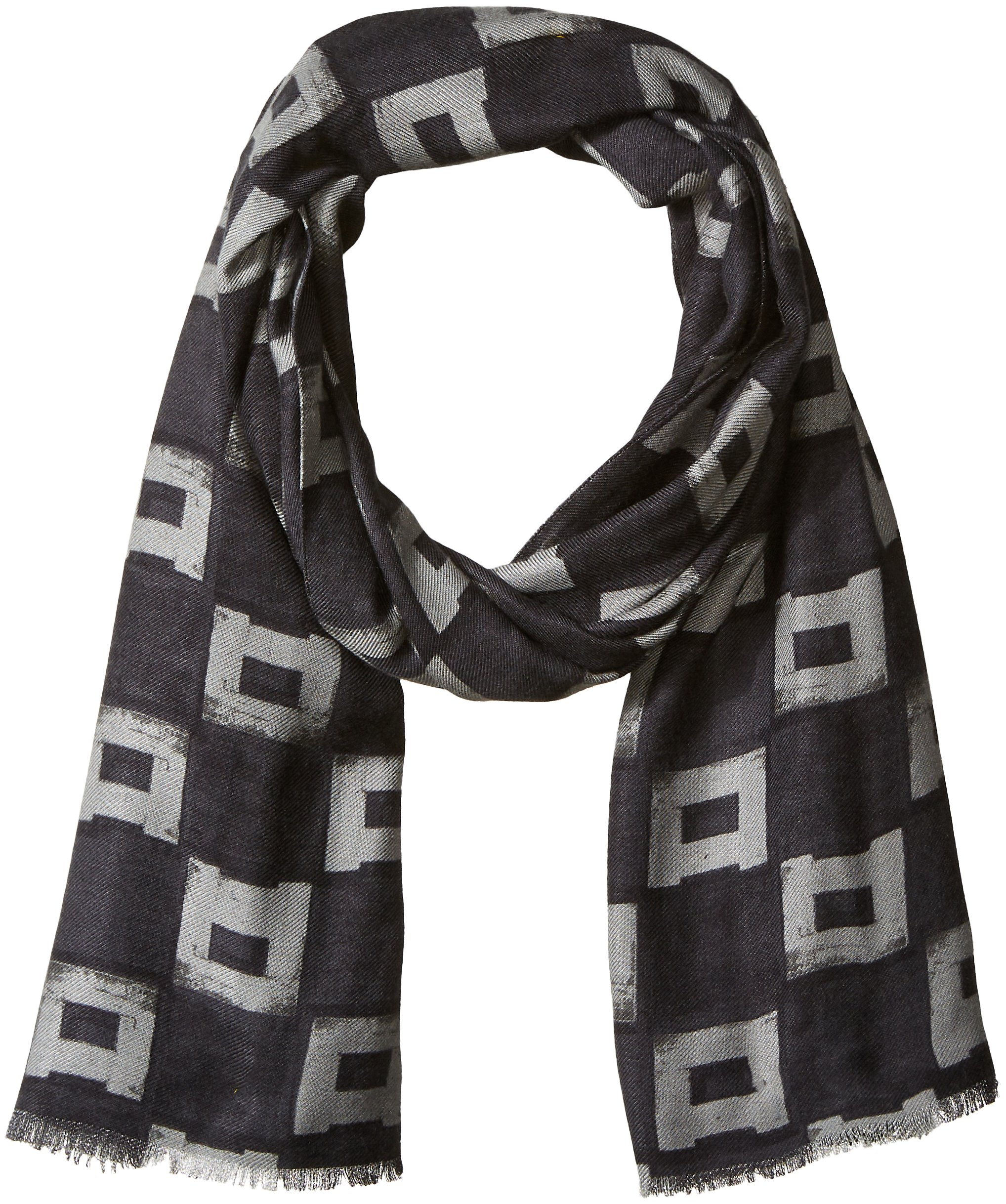 Armani Jeans Men's Abstract Pattern Polyester AND Viscose Fabric Scarf, grey square, ONE SIZE