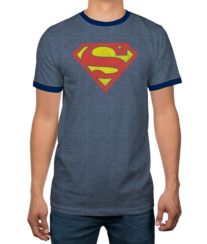 2ca7cb0d Top2: DC Comics Justice League Superman Logo Heather Blue Ringer Mens T- Shirt