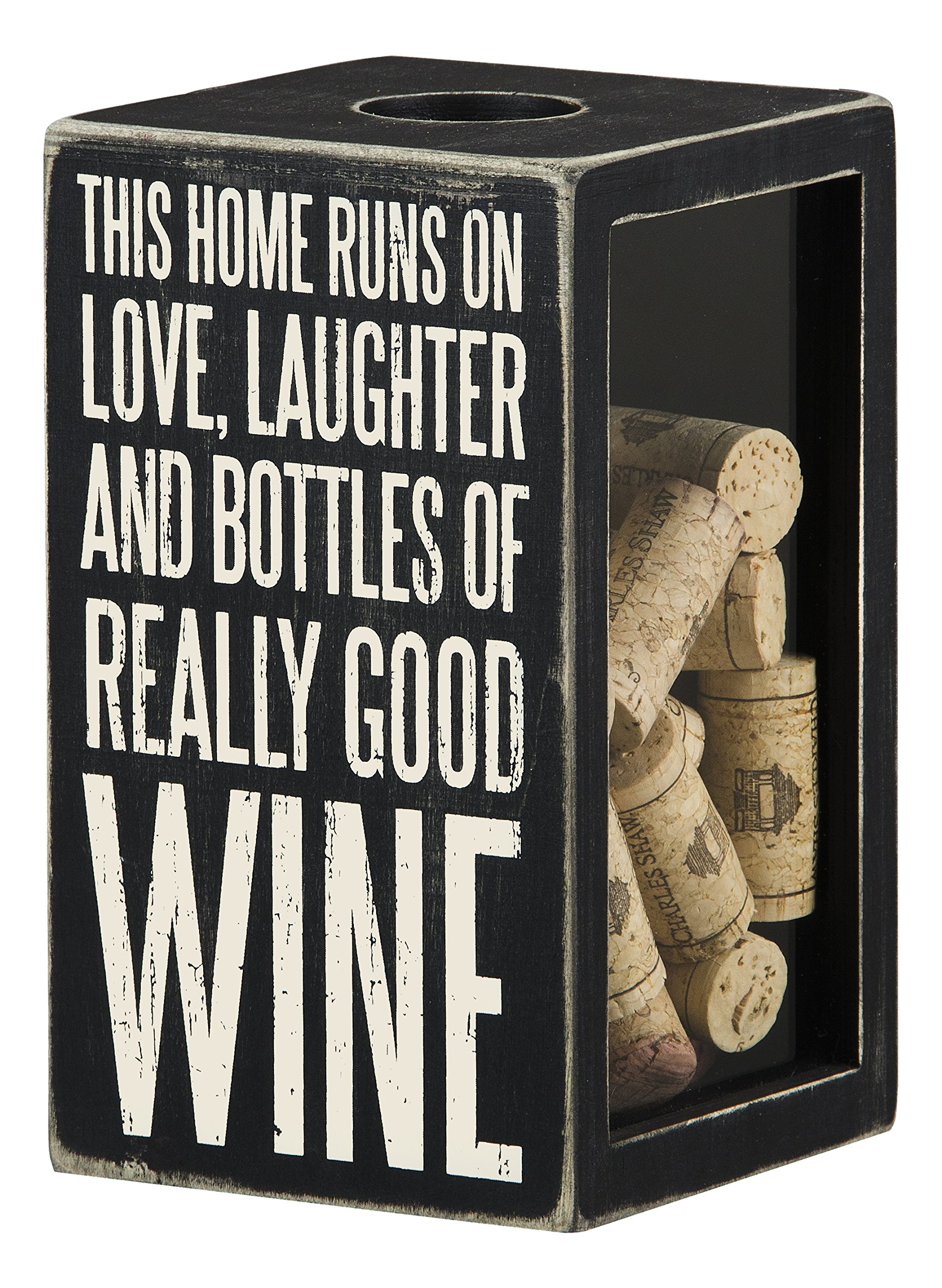 Primitives by Kathy 24297''This Home Runs On Good Wine Cork & Cap Holder, Large, Good Wine/Black