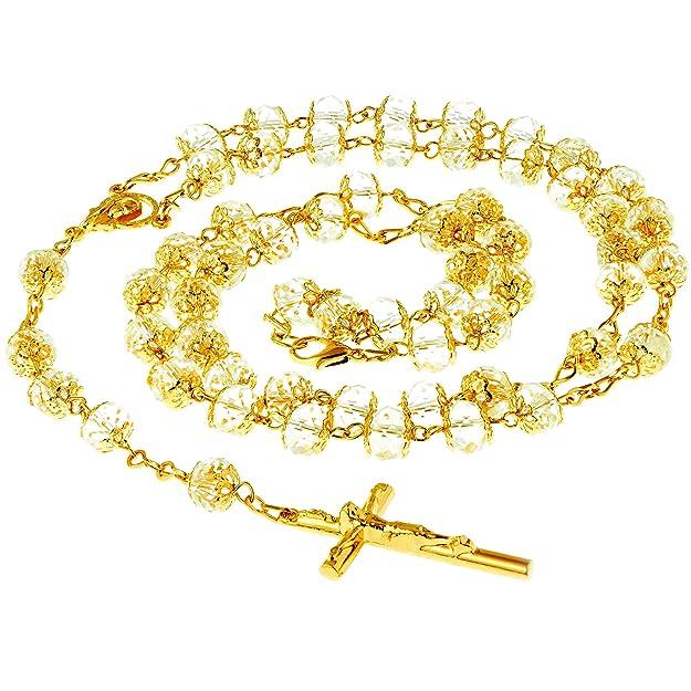c75f06d842d El rosario de Lifetime Jewelry está hecho completamente en bronce y bañado  en oro de 24 quilates. Las cuentas son de cristal genuino y toda la pieza  mide 28 ...