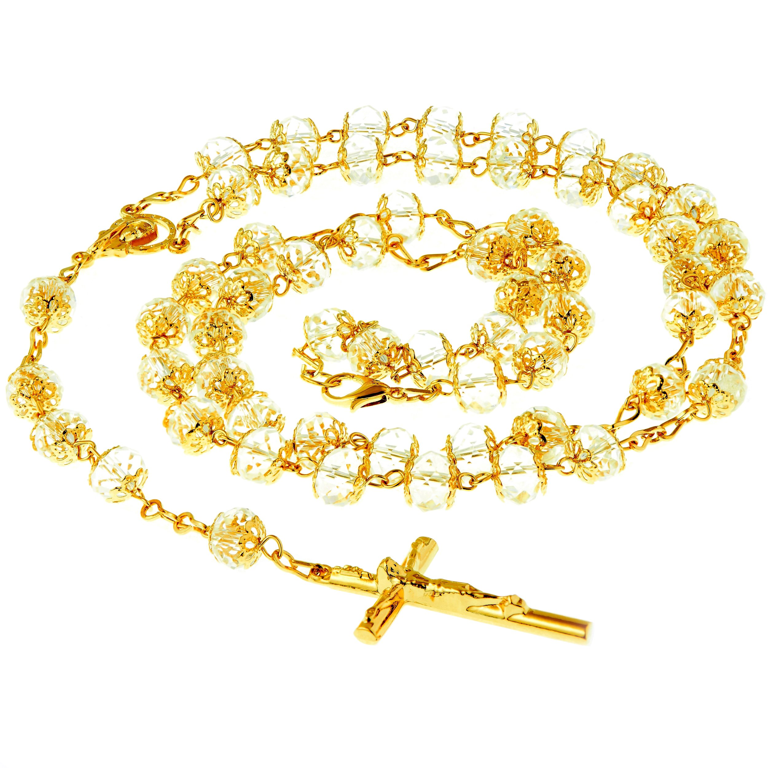 Rosary Necklace, Crystal Prayer Beads, 24K Gold Over Bronze, Catholic Crucifix and Virgin Mary Center, Guaranteed for Life, 28-30 Inches