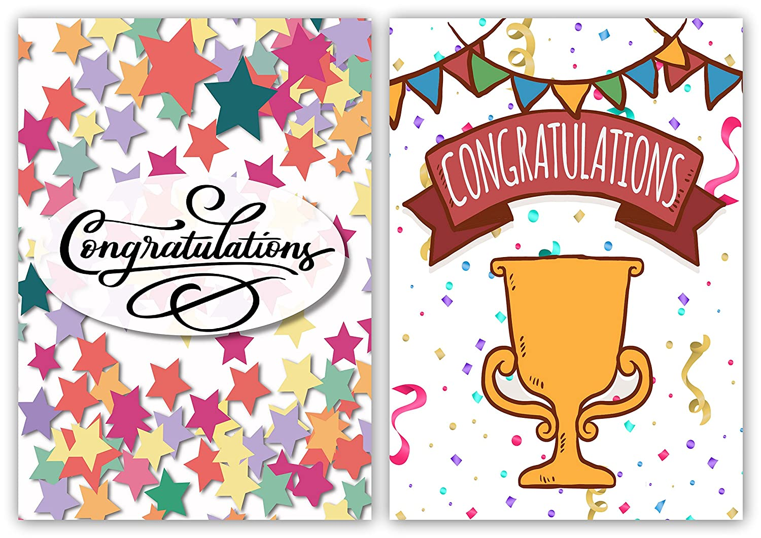 Made in UK Pack of 10 Congratulations Cards with Envelopes Contemporary Design by Greetingles