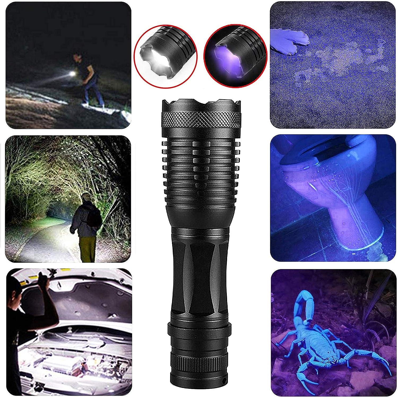 Torcia Tattica UV 2 in 1 con 5 modalit/à Impermeabile /& IPX 4 per Vestiti per Animali Rilevazione Funghi//Pesca Notturna//Viaggi//Difesa Personale