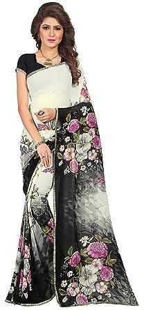 e564a24b28 Women's Faux Georgette Floral Print Saree Off White/Black 6.30 m With Blouse  Piece by
