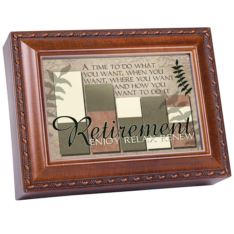 Cottage Garden Retirement Enjoy Relax Renew Woodgrain Rope Trim Jewelry Music Box Plays Wonderful World