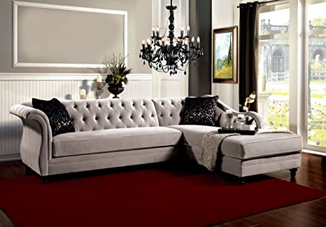 Amazon Com Furniture Of America 2 Piece Corinee Glamorous Sectional