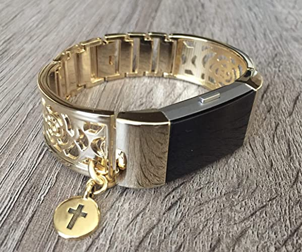 Gold Metal Band For Fitbit Charge 2 Fitness Tracker Flowers Design Handmade  Accessory Jewelry Fitbit Charge 2 Bangle Small Christian Cross Religious