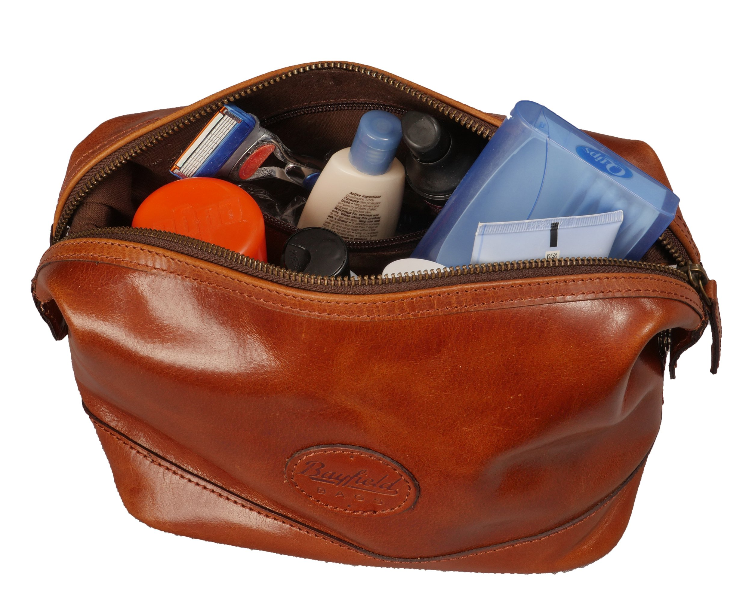 Leather Toiletry Bag for Men – Zippered Dopp Kit Organizer – Brown Travel Shaving Kit Case (9x5x7) by Bayfield Bags by Bayfield Bags (Image #6)