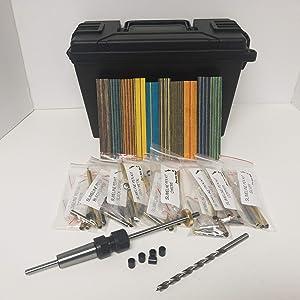 PKM 27 pc Slimline Pen Kit Starter Kit BUNDLE with 5 Bushings, Maxi-Mandrel #2 Morse Taper, Spectraply Wood, 10 assorted Slimline Pen Kits, Carry Case