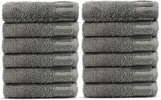 Luxury Hotel And Spa Towel Turkish Cotton Washcloths-Gray-Dobby Border-Set of 12