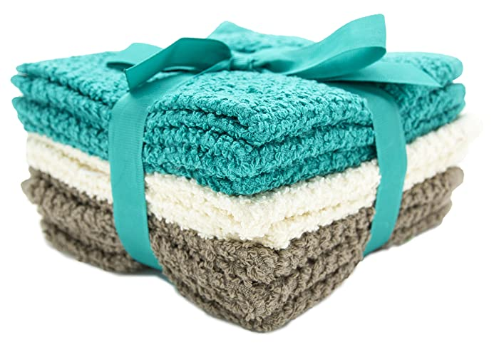 "Living Fashions Washcloths Set of 8 - Popcorn Weave Wash Cloth Designed to Exfoliate Your Hands, Body or Face - Absorbent 100% Ring Spun Cotton - Size 12"" X 12"" - Colors Teal, Cream & Taupe"