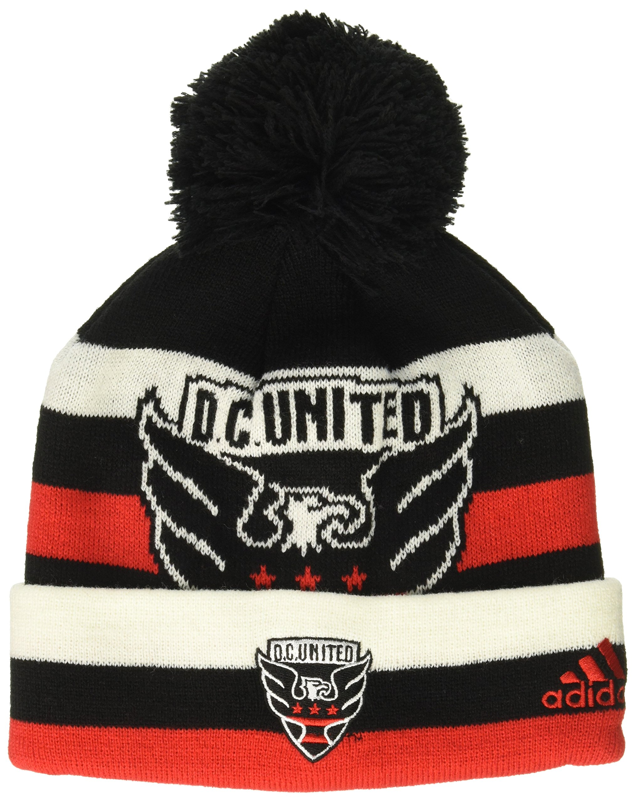 MLS D.C. United R S8FDS Youth Boys Cuffed Knit Hat with Pom, One Size (8), Black