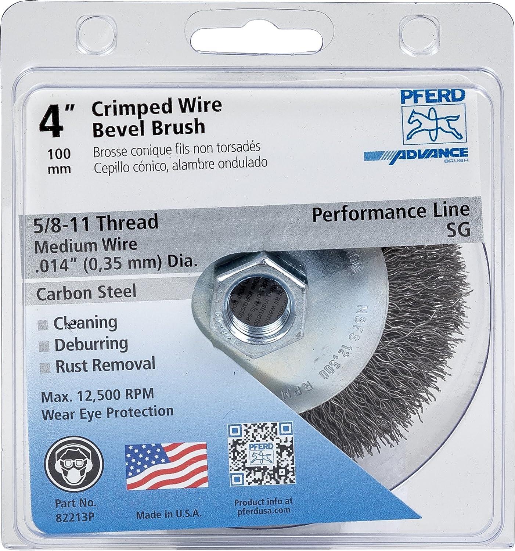 PFERD 82213P Crimped Bevel Brush, Carbon Steel Wire, 4\