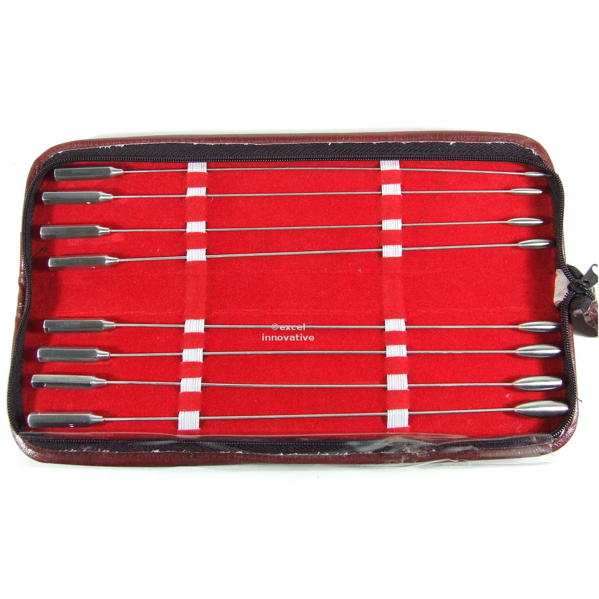 Bakes Dilators 11.75'' Long Malleable Shafts Set of 8 Sizes in a Case | Medixplus