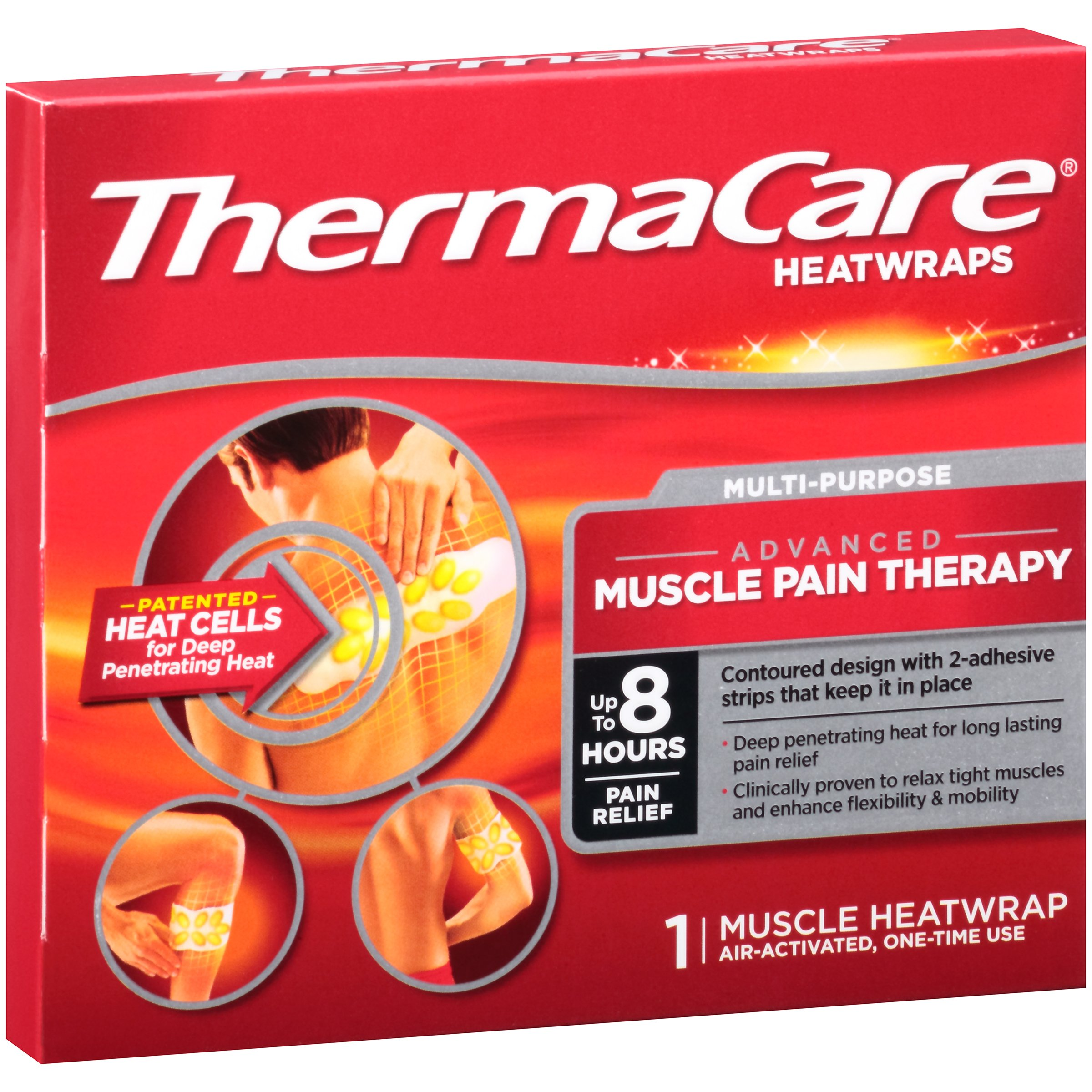 ThermaCare Advanced Multi-Purpose Muscle Pain Therapy (1 Count) Heatwraps, Up to 8 Hours of Pain Relief, Temporary Relief of Muscular Pains