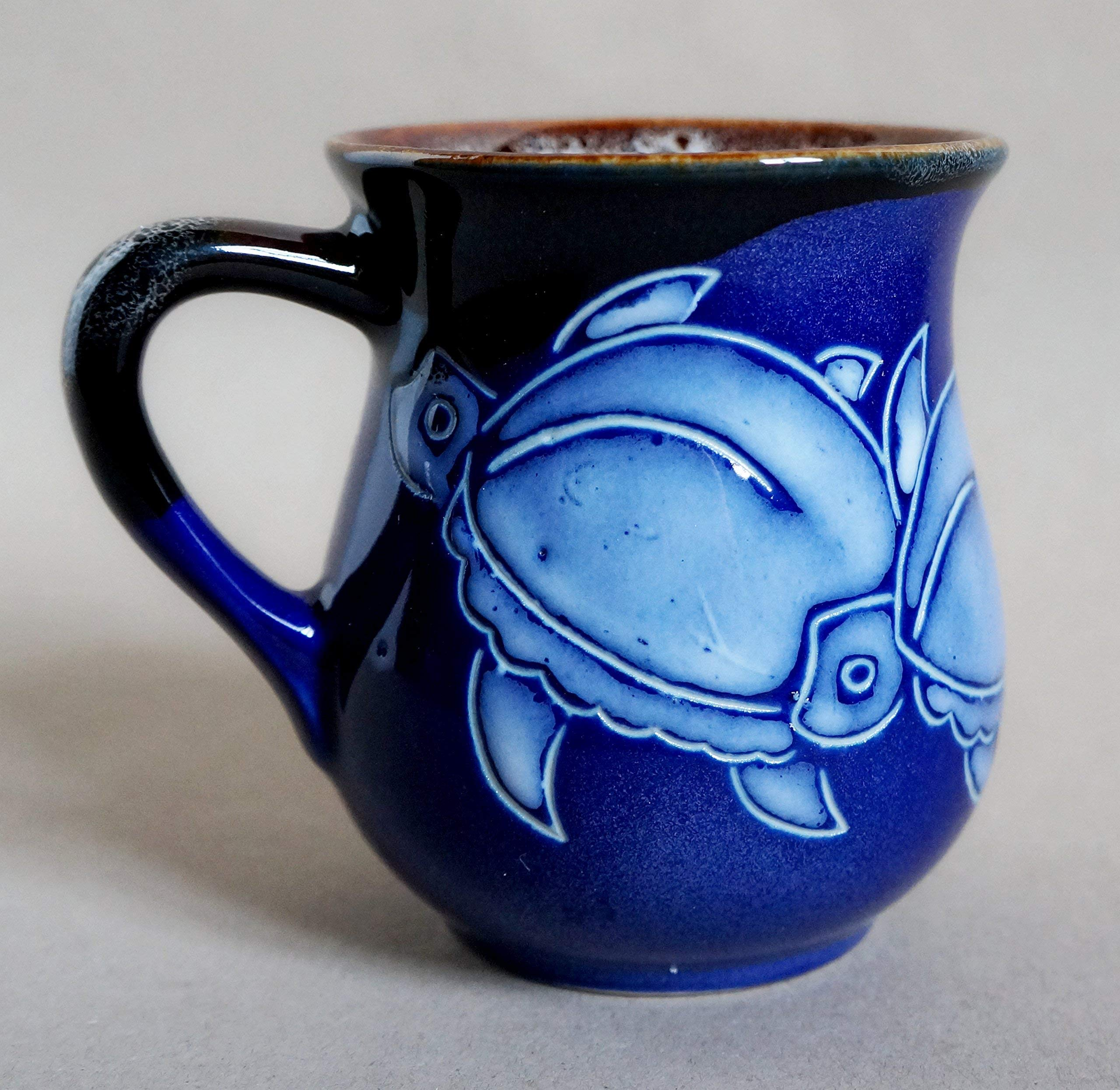 Blue ceramic mug, Turtle coffee mug, Tea cup Sea turtle pottery mug, Holiday gift, Handmade stoneware tea cup