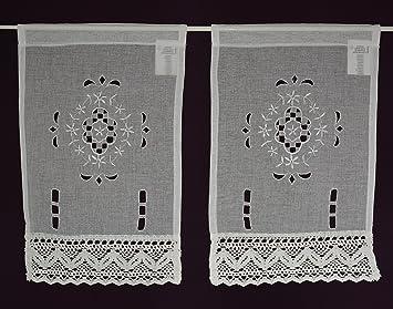 Lot de 2 rideaux brise-bise en dentelle crochetée shirt Panne aux ...