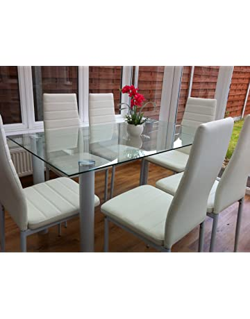 STUNNING GLASS WHITE OR BLACK DINING TABLE SET AND 6 4 FAUX LEATHER CHAIRS
