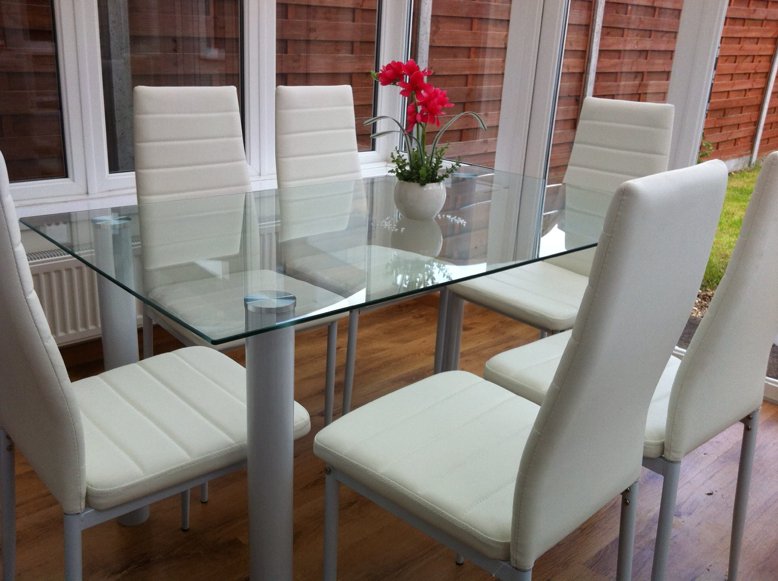 STUNNING GLASS WHITE OR BLACK DINING TABLE SET AND 6 OR 4 FAUX LEATHER CHAIRS  sc 1 st  Amazon UK & Dining Table Sets Shop | Amazon UK