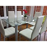 STUNNING GLASS, WHITE OR BLACK DINING TABLE SET AND 6 FAUX LEATHER CHAIRS (CLEAR TABLE WITH 6 WHITE CHAIRS)