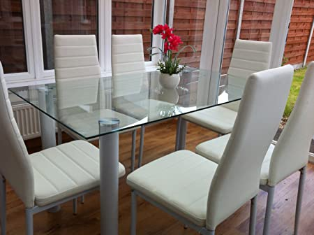 STUNNING GLASS, WHITE OR BLACK DINING TABLE SET AND 6 FAUX LEATHER CHAIRS ( CLEAR
