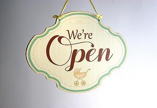 Open/Closed - o abierto/cerrado, colgante de madera de doble ...