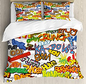 Ambesonne Superhero Duvet Cover Set Queen Size, Retro Comic Book Expressions Humor Icons Cartoon Scream Crash Pow Vintage Design, Decorative 3 Piece Bedding Set with 2 Pillow Shams, Multicolor