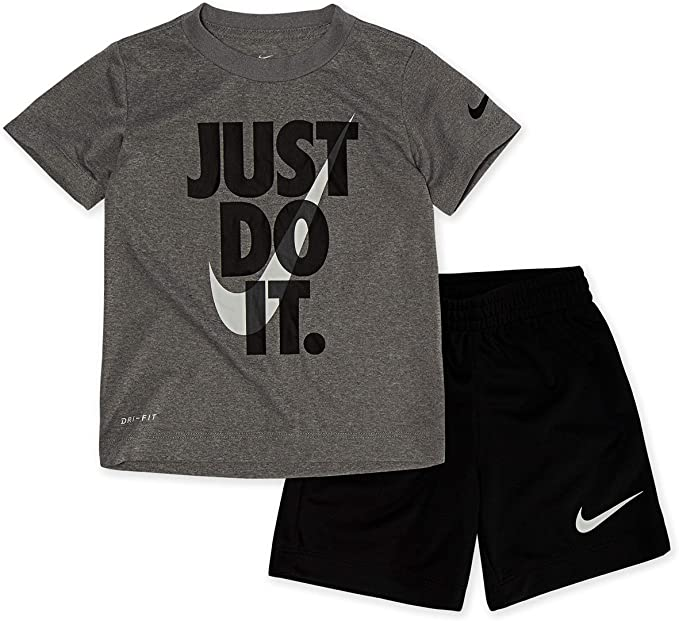 Nike Boys 2 Pc Dri-Fit Tee Shirt /& Dri Fit Shorts Set Outfit Black White 4 6 7