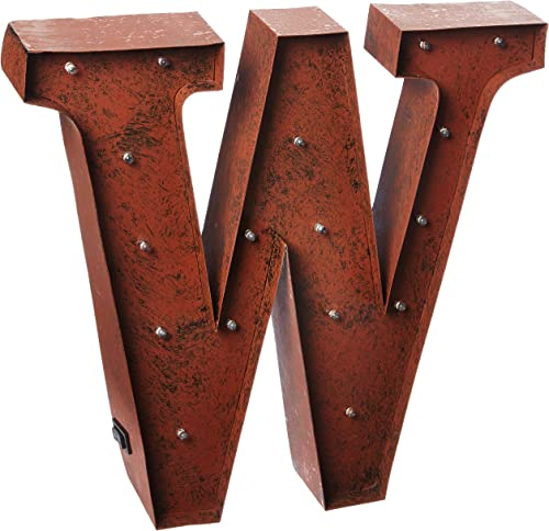 The Gerson Company W LED Lighted Metal Letter with Rustic Brown Finish and Timer Function