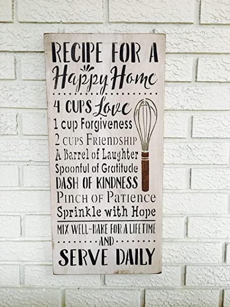 Recipe For A Happy Home Happy Home Sign Rustic Wood Sign Kitchen