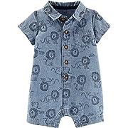 Carter's Baby Boys Lion Print Chambray Romper 12 Months Denim Blue/Black