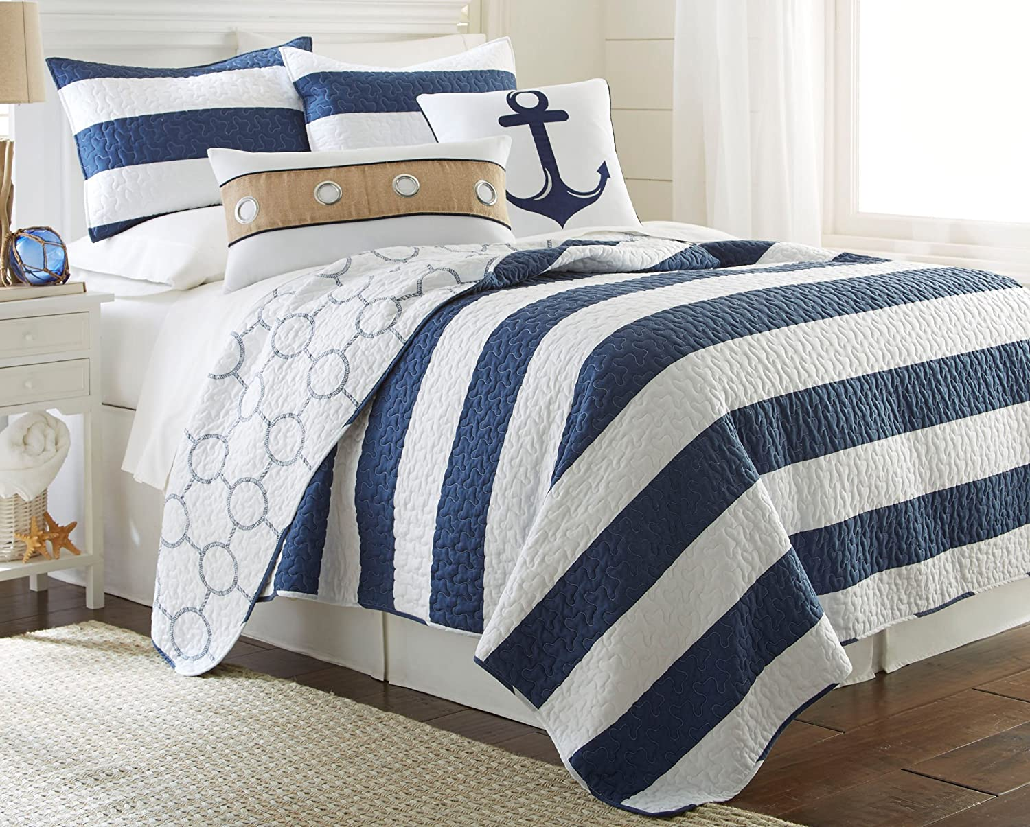 Elise & James Home Hallie Rope Quilt Set Bedding King Navy/white