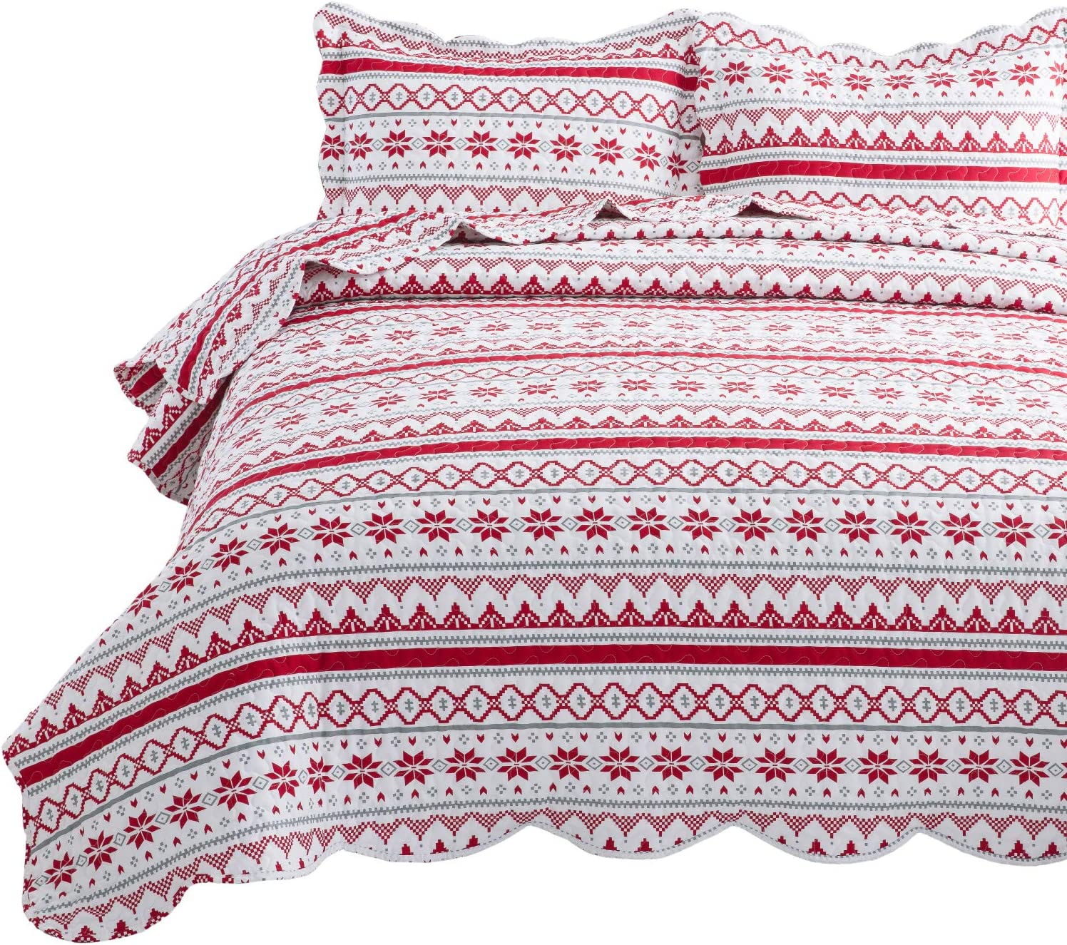Bedsure Christmas Quilt Set Full/Queen Size (90x96 inches) - Festive Printed Pattern - Soft Microfiber Lightweight Coverlet Bedspread for All Season - 3-Piece Bedding (1 Quilt + 2 Pillow Shams)