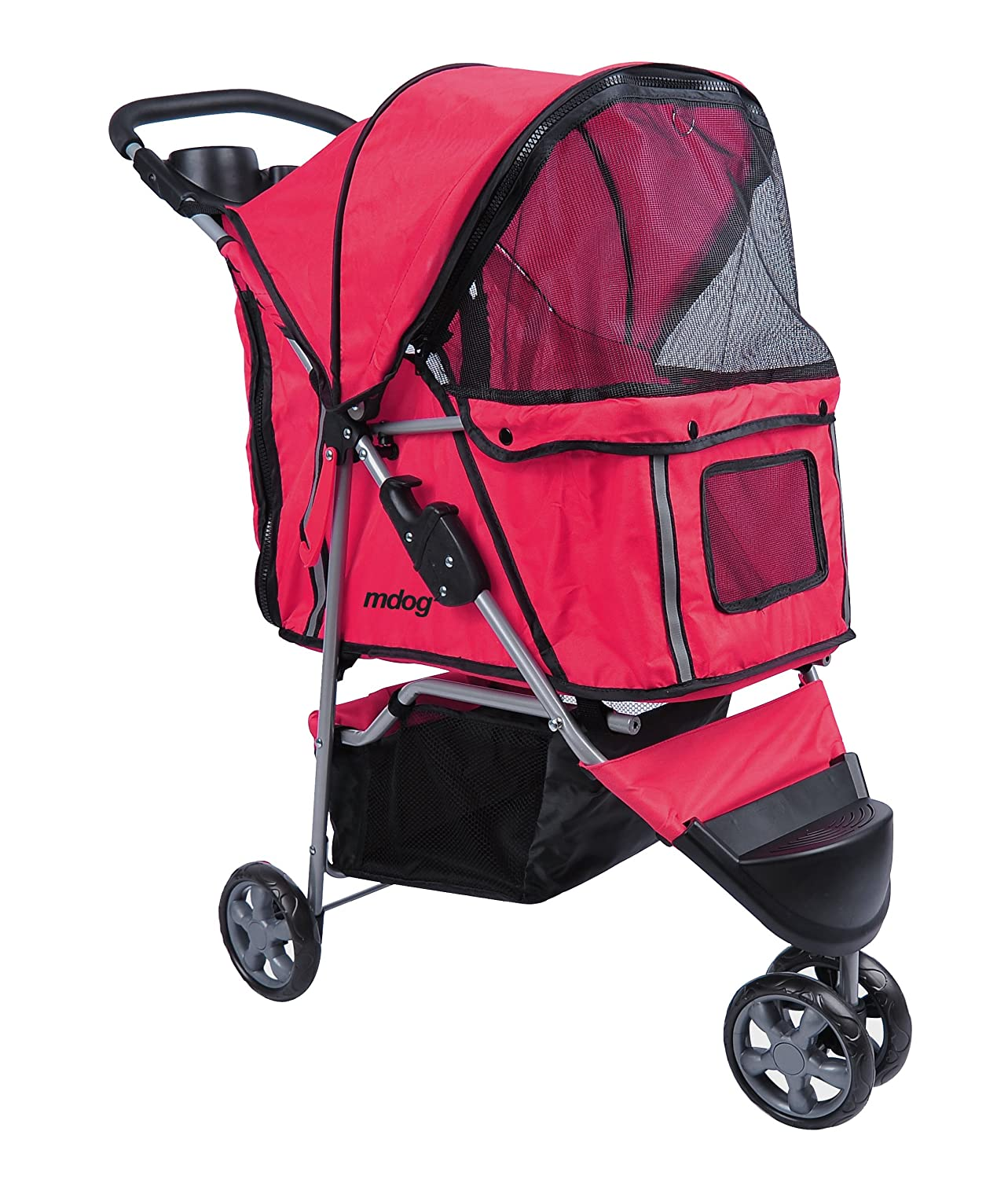 MDOG2 MK0015A 3-Wheel Front and Rear Entry Pet Stroller, Red