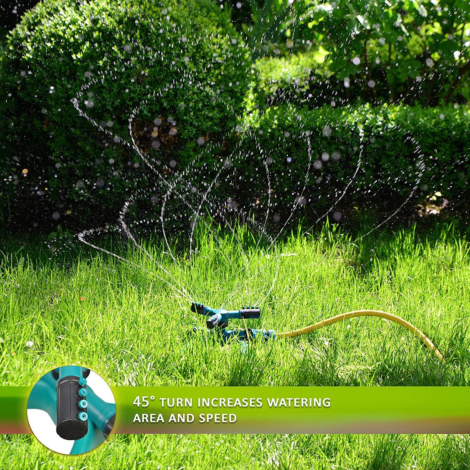 Water Sprinkler System - Lawn Garden Sprinkler Head - Outdoor Automatic Sprinklers for Lawn Irrigation System Kids - Three Arm High Impact Sprinkler System - Up To 3600 Square Feet Coverage by My garden (Image #6)