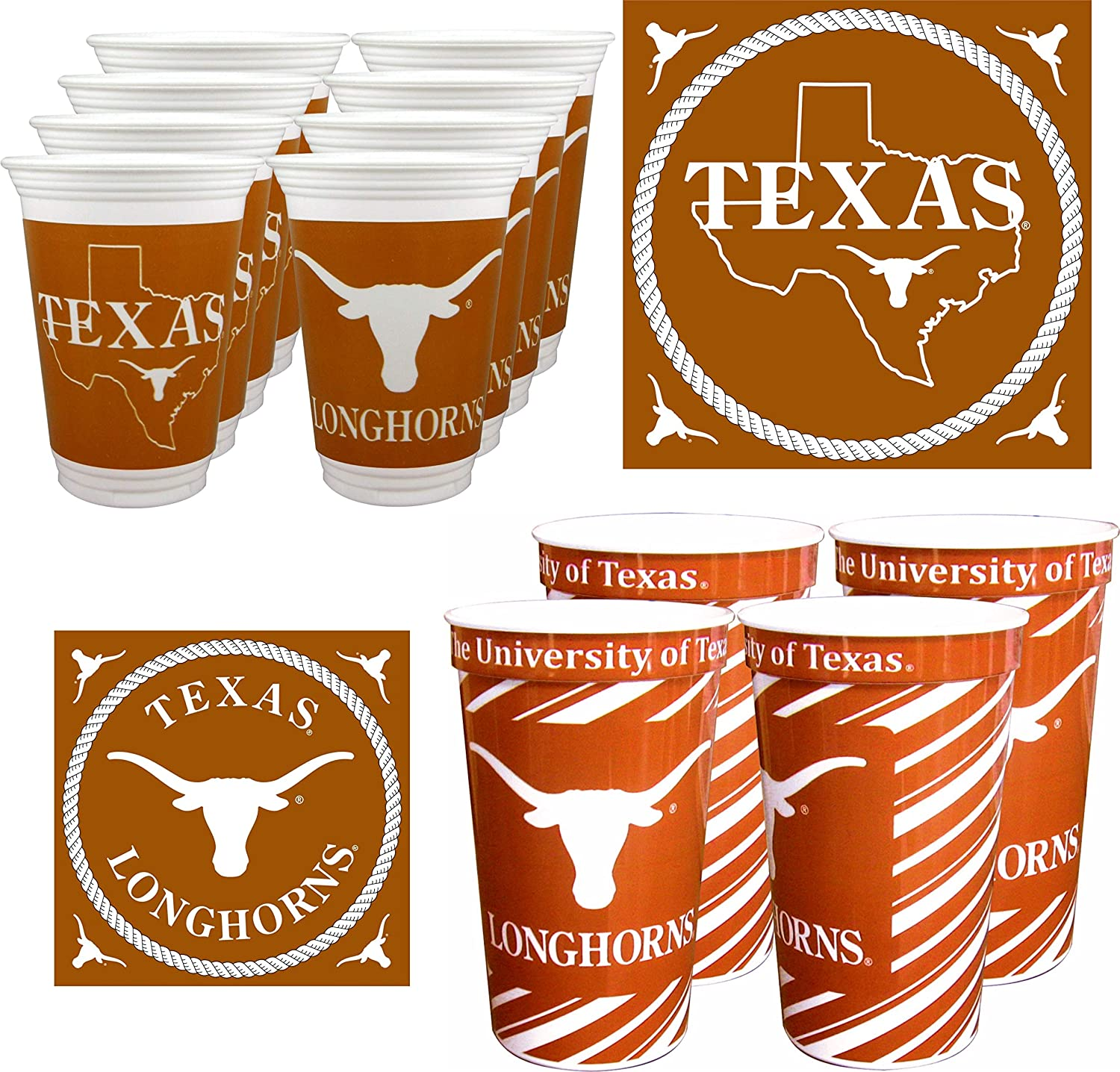 52 Pieces Westrick Texas Longhorns Cups /& Napkins for 16 Guests