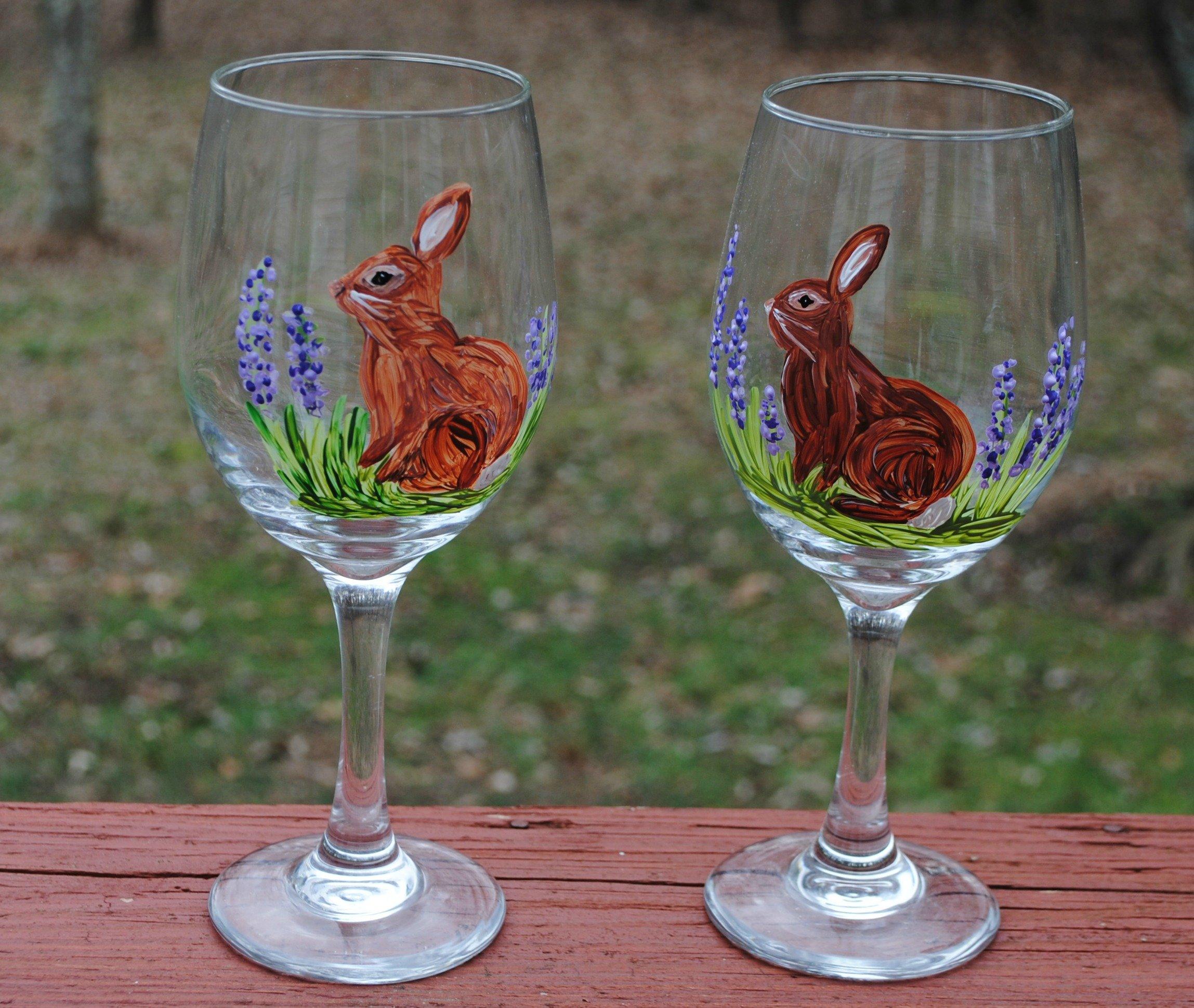 Bunny Rabbit Hand Painted 20 oz Stemmed Wine Glasses (Set of 2) Easter Kitchen Decor.