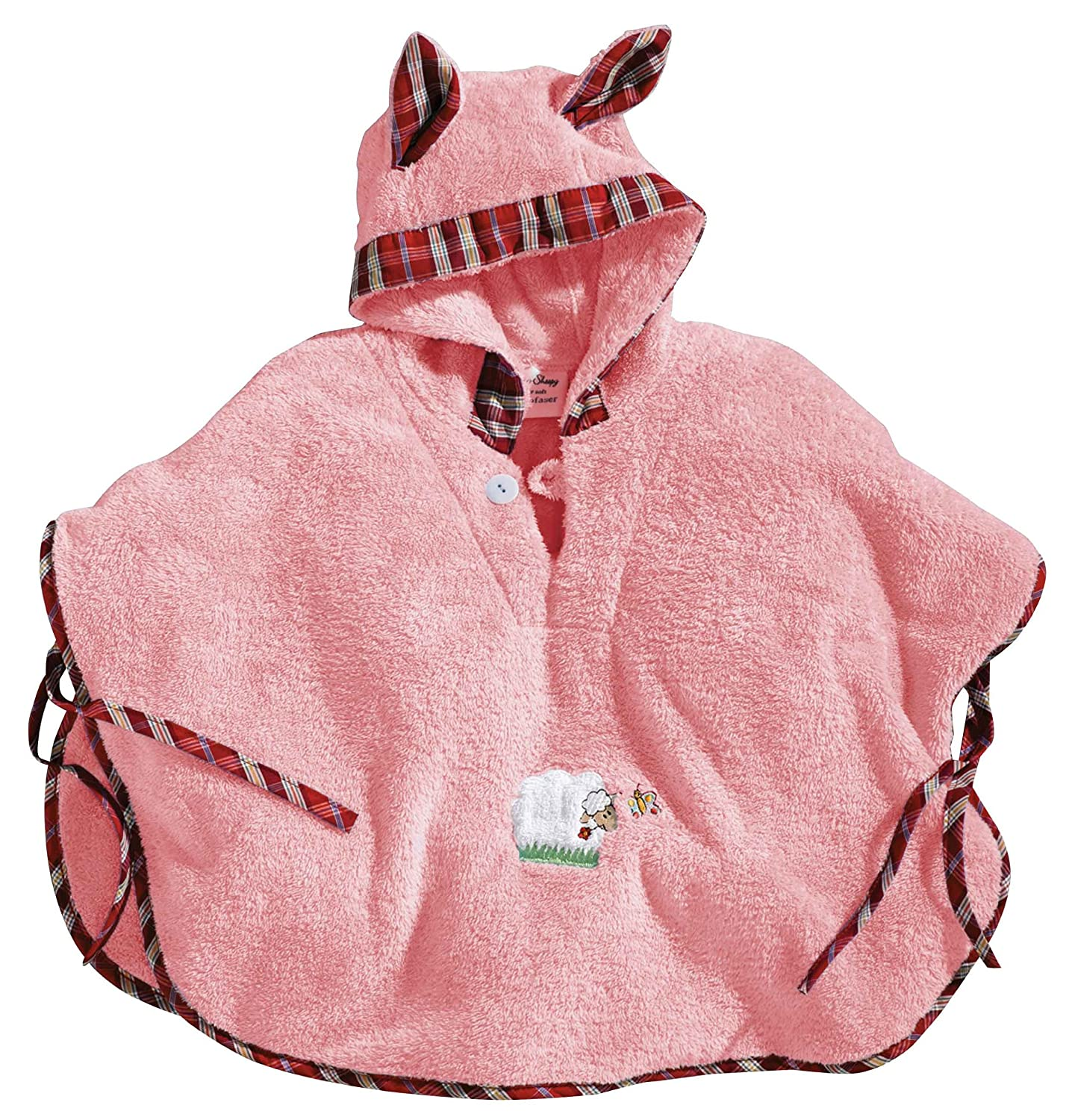 Morgenstern Children Poncho Sheep Embroidery and Ears on the Hood Age 1-3 Years pink