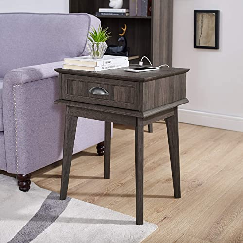 Newport Series Tall End Side Table with Fully Extended Storage Drawer Night Stand Sturdy and Stylish Easy Assembly Smoke Oak Wood Look Accent Living Room Bedroom Home Decor Retro Furniture