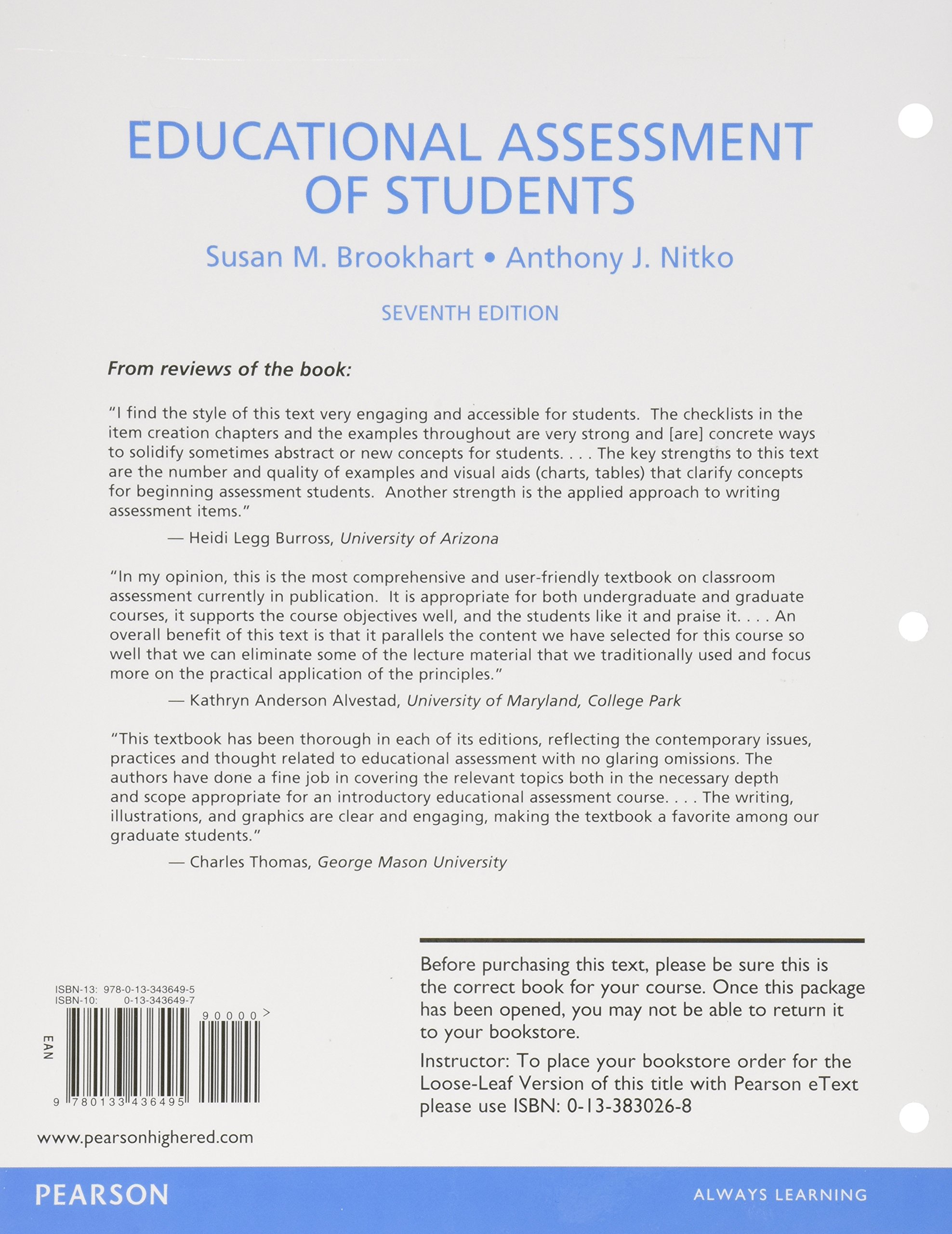 educational assessment of students pearson etext access card educational assessment of students pearson etext access card susan m brookhart anthony j nitko 9780133779844 amazon com books