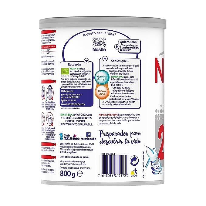 Nestlé NIDINA 2 BIO - Leche de continuación en polvo vio certificada por la UE - Fórmula Para bebés - A partir de los 6 meses - 800g: Amazon.es: ...
