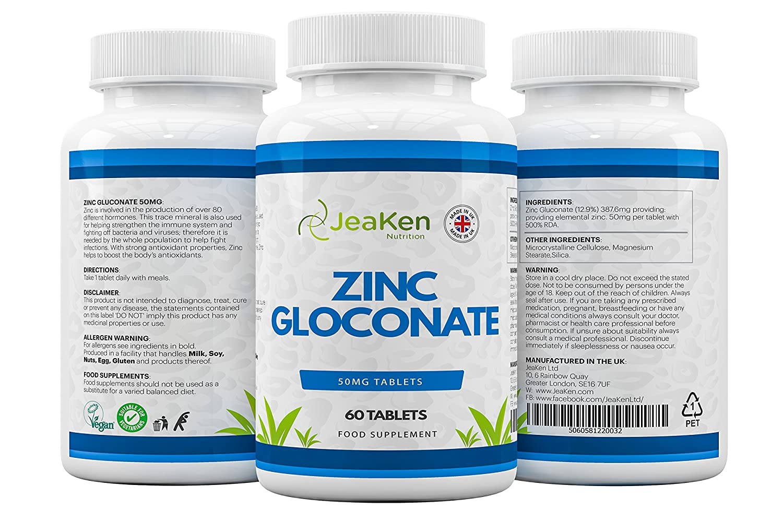 GLUCONATO DE ZINC Comprimidos de 50 mg por JeaKen - Suplemento de gluconato de zinc - Alta potencia - Crecimiento celular de apoyo - Aumenta la inmunidad ...