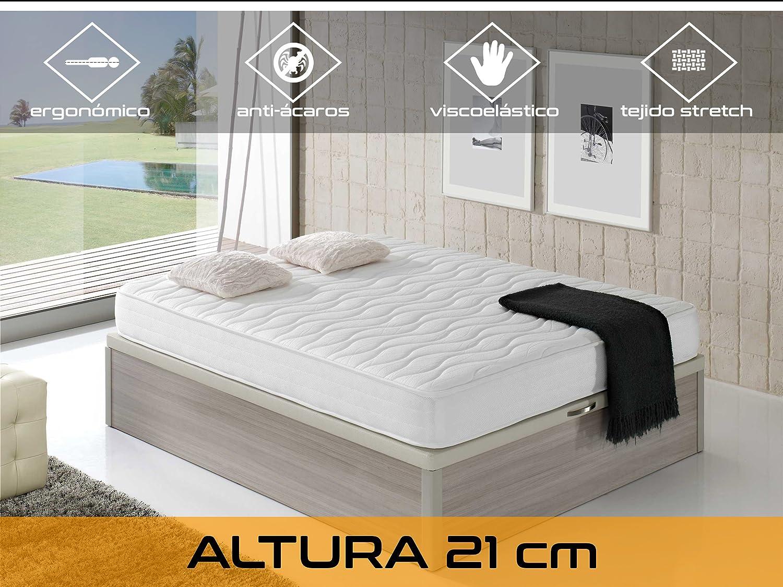 Dormi Premium Cloud 21 - Colchón Viscoelástico, 135 x 190 x 21 cm, Algodón/Poliuretano, Blanco, Matrimonio: Amazon.es: Hogar