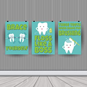 Dental Hygiene Print Collection – Set of Three 11 x 14 Posters – Bathroom Art – Classroom Decor – School – Dental – Orthodontist – Wall Art – Health Class – Dentist Office – Doctor's Office